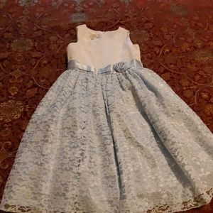 Girls formal dress white and light blue
